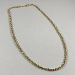 Vintage Gold Tone Rope Necklace, Vintage Jewelry